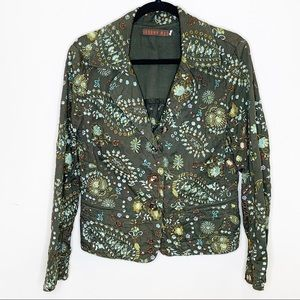 Johnny Was army green embroidered cotton blazer